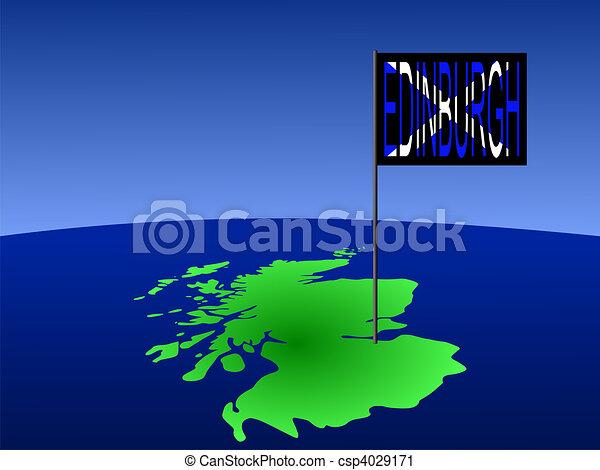 Edinburgh on Scotland map - csp4029171