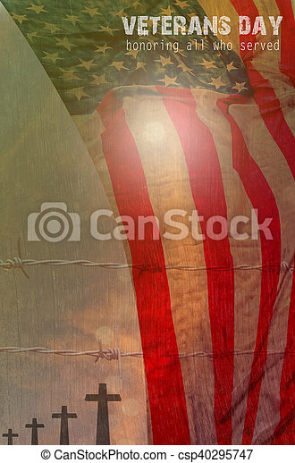 United States Flag, cross shadow and barbed wire for Veterans Day Concept