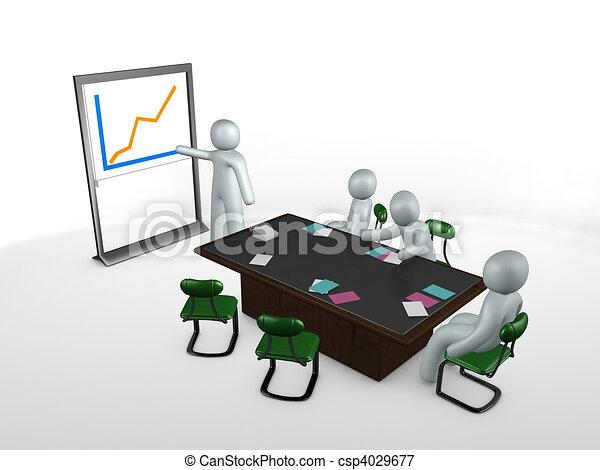 Illustration - 3D, image, réunion, table, personnel, présentation ...