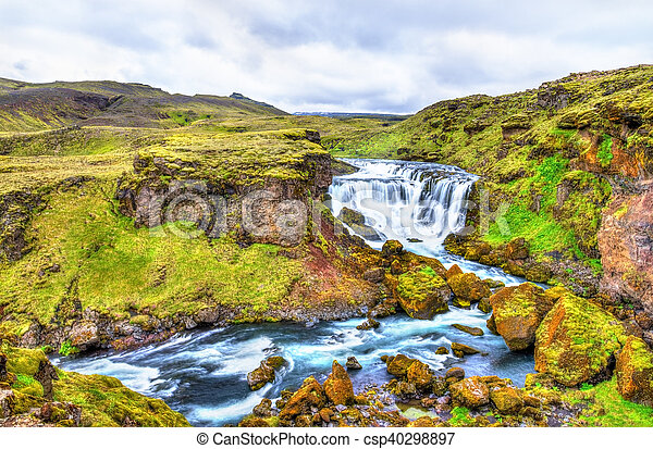 One of numerous waterfalls on the Skoga River - Iceland - csp40298897