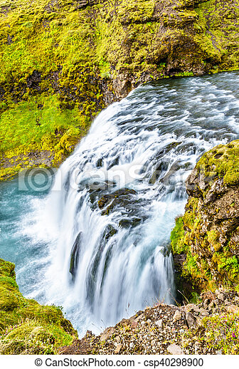 One of numerous waterfalls on the Skoga River - Iceland - csp40298900
