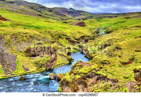 One of numerous waterfalls on the Skoga River - Iceland - csp40298907