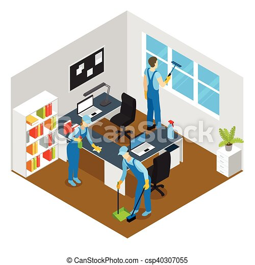 Clipart vectorial de isom trico limpieza oficina for Limpieza en oficinas