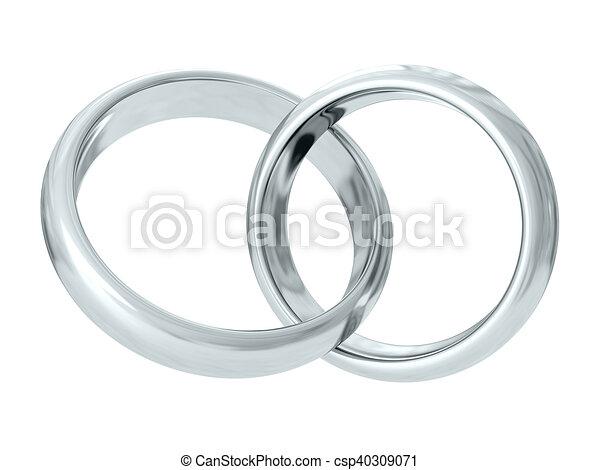 Wedding rings. 3D rendering - csp40309071