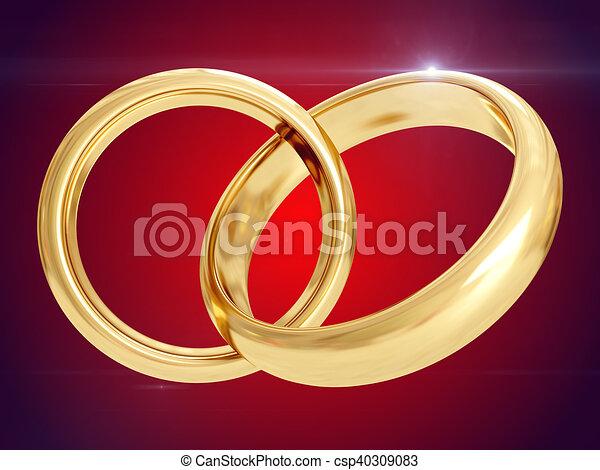 Wedding rings. 3D rendering - csp40309083