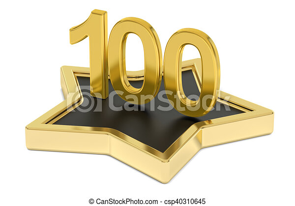 Drawing of golden number 100 on star podium, award concept. 3D ...