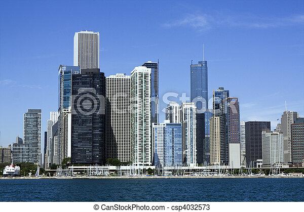 Chicago from Lake Michigan - csp4032573