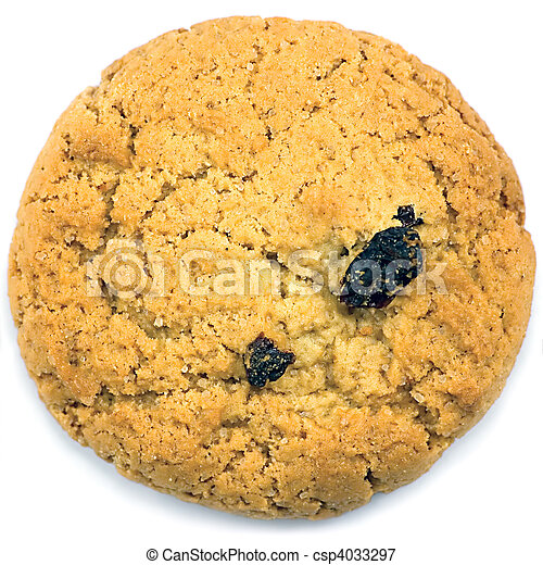 Oatmeal raisin cookie macro closeup isolated on white - csp4033297