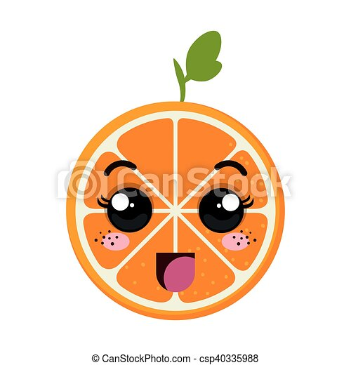 Vettore di arancia kawaii cartone animato arancia - Cartone animato immagini immagini fantasma immagini ...
