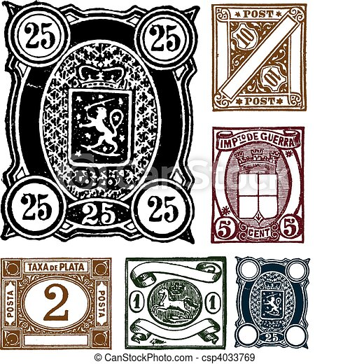 Vector Retro Hand Drawn Stamps - csp4033769
