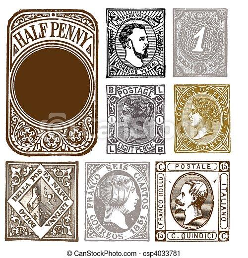 Vector Set of Retro Distressed Stamps - csp4033781
