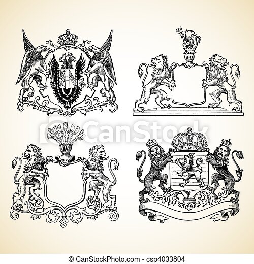 Vector Medieval Animal Crests - csp4033804