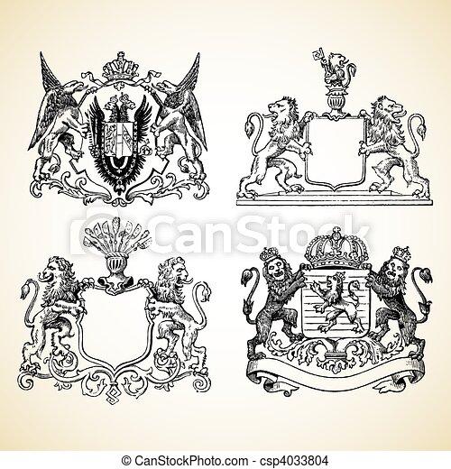 Vector Medieval Animal Crests - csp4033804