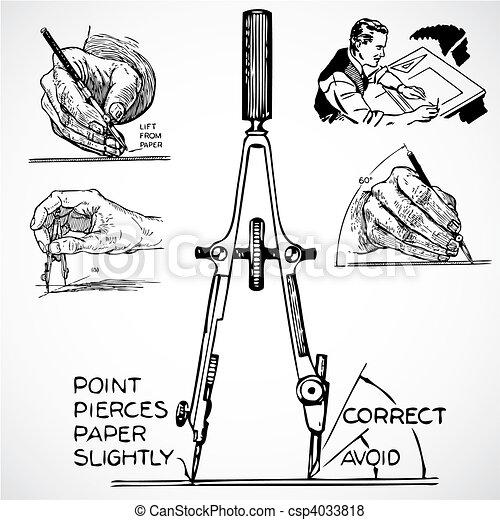 Vector Vintage Drafting Tools - csp4033818