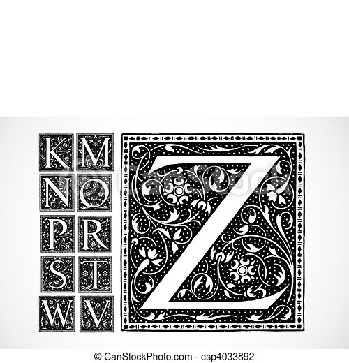 Vector Ornate Alphabet K-Z - csp4033892