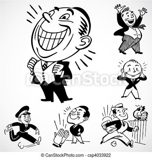 Vector Vintage Happy Men - csp4033922