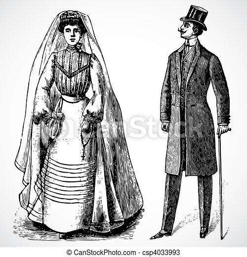 Vector Vintage Bride and Groom - csp4033993