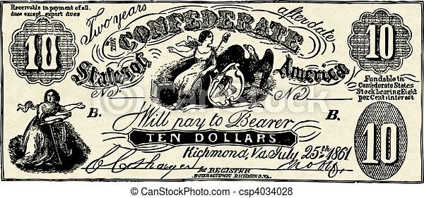 Vector Vintage Confederate Bank Note - csp4034028