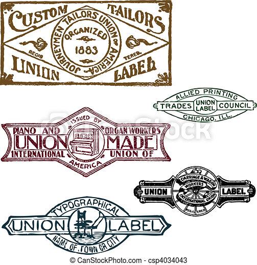Vector Set of Retro Union Stamps - csp4034043
