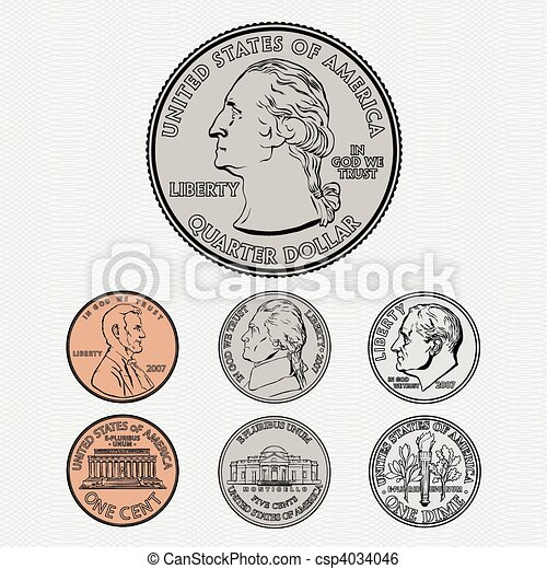 Vector Coins with Background - csp4034046