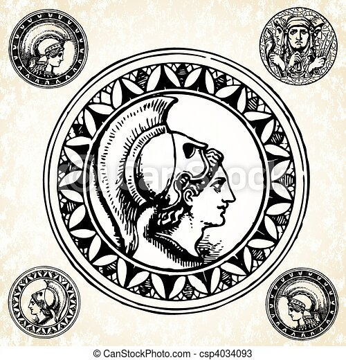 Roman Coin Drawing Set of Vector Roman Coins And