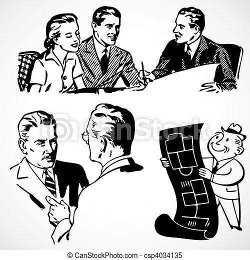 Vector Vintage Financial Advisors - csp4034135