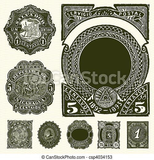 Vector Set of Vintage Spanish Stamps - csp4034153