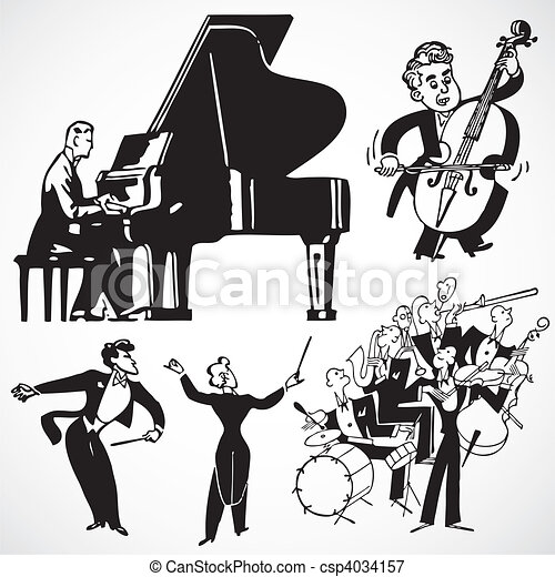 Vector Vintage Musicians and Instruments - csp4034157