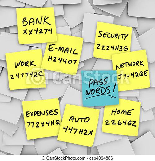 Passwords Written on Sticky Notes - csp4034886