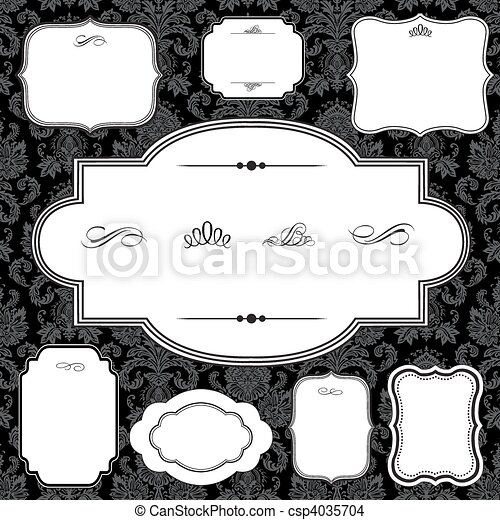Vector Damask Pattern and Frame Set - csp4035704