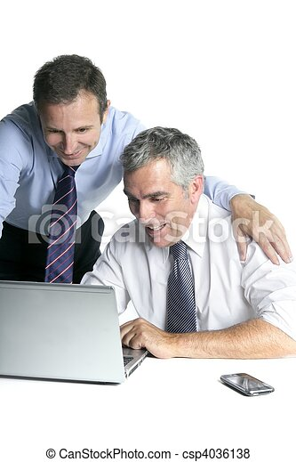 happy businessman team on computer good sales - csp4036138