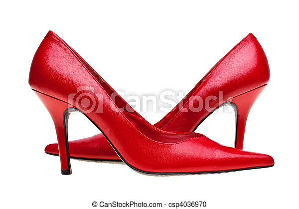 Ladies red high heels shoes isolated - csp4036970