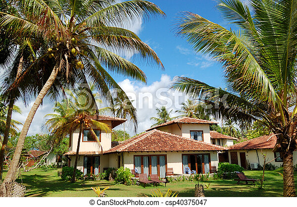 Holiday villa at the popular hotel and palms, Bentota, Sri Lanka - csp40375047