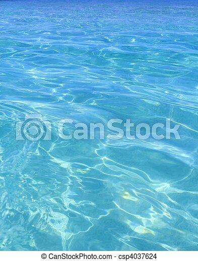 完美, 藍色, 綠松石, 熱帶的水, 海灘 - csp4037624