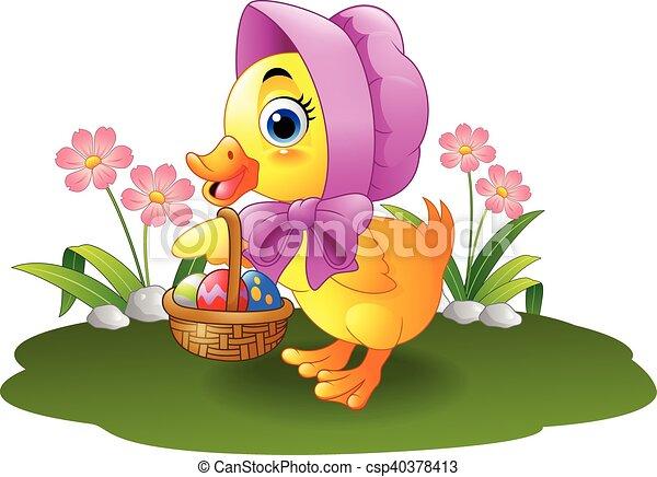 vector clip art of cartoon baby duck carrying decorate - vector
