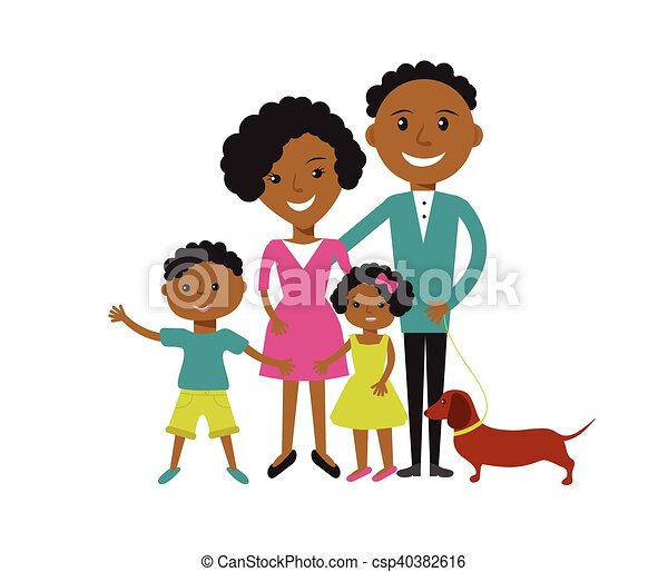 vector clip art of happy african american family of 4