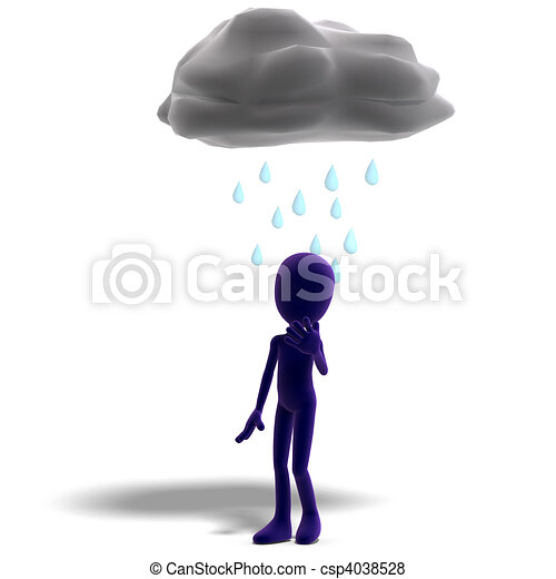 3d male icon toon character standing in the rain. 3D rendering and shadow over white - csp4038528