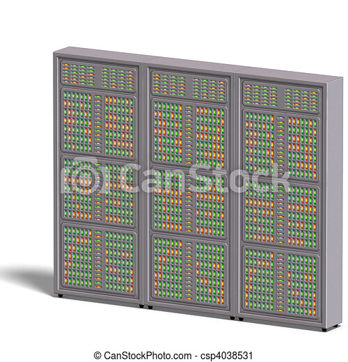 a historic science fiction computer or mainframe. 3D rendering with  and shadow over white - csp4038531