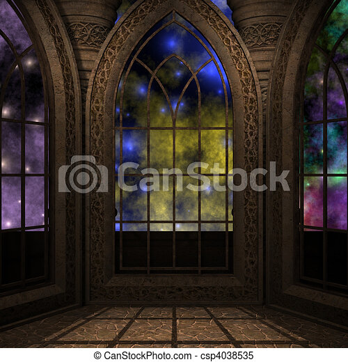 magic window in a fantasy setting. 3D rendering of a fantasy theme for background usage. - csp4038535
