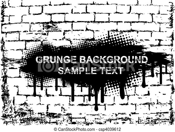 Grunge banner on brick wall. Vector - csp4039612