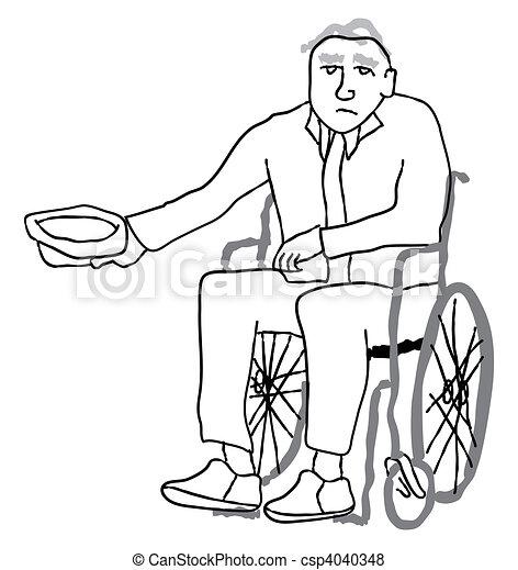 Handicapé, personne agee, mendiant - image, images, photo libre de