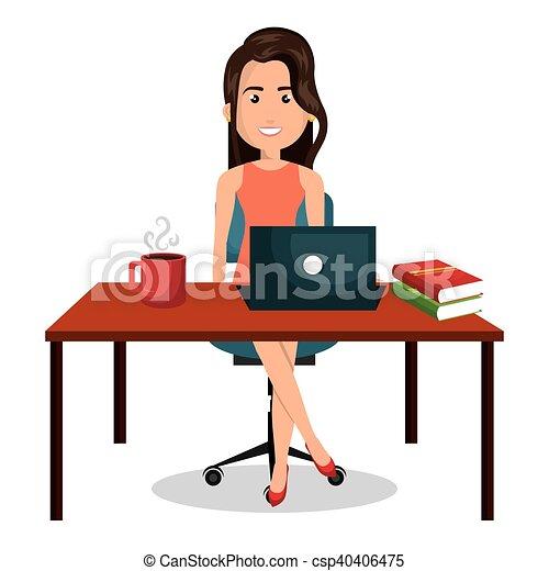 Schreibtisch büro clipart  Vektoren Illustration von grafik, buero, geschäftsfrau, arbeit ...