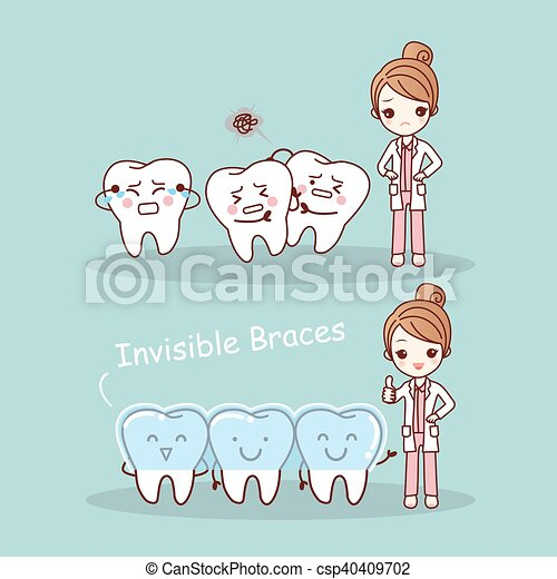 Vector Clipart of cute cartoon tooth invisible braces with dentist ...