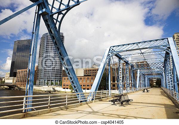 Blue bridge in Grand Rapids - csp4041405