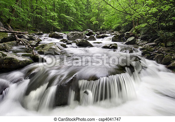 montañas, ahumado, cascada - csp4041747