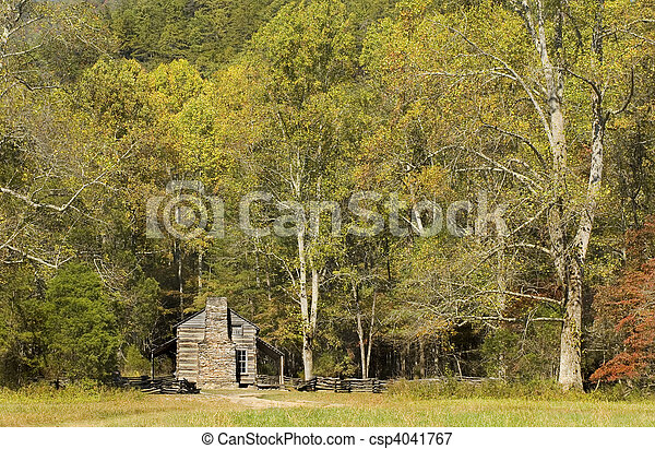 John Oliver Cabin, rustic appalachian mountain cabin, Great Smoky Mountains National Park - csp4041767