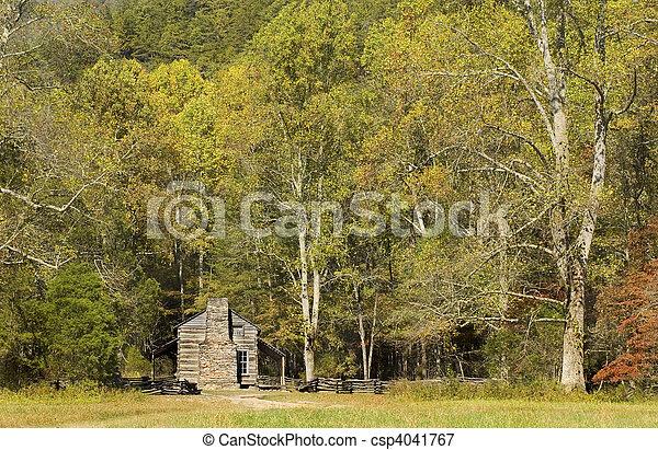 John Oliver Cabin, rustic appalachian mountain cabin, Great Smoky Mountains National Park - csp4041767