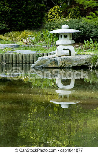 japanese pagoda zen garden - csp4041877