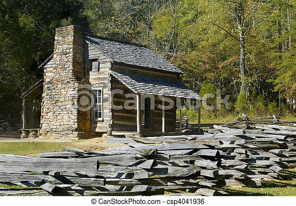 Log Cabin, Cades Cove, Great Smoky Mountains National Park - csp4041936