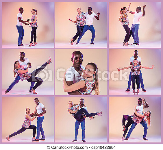 The collage from images of young couple dances social Caribbean Salsa, studio shot on lilac background. Positive human emotions. The black african and caucasian models
